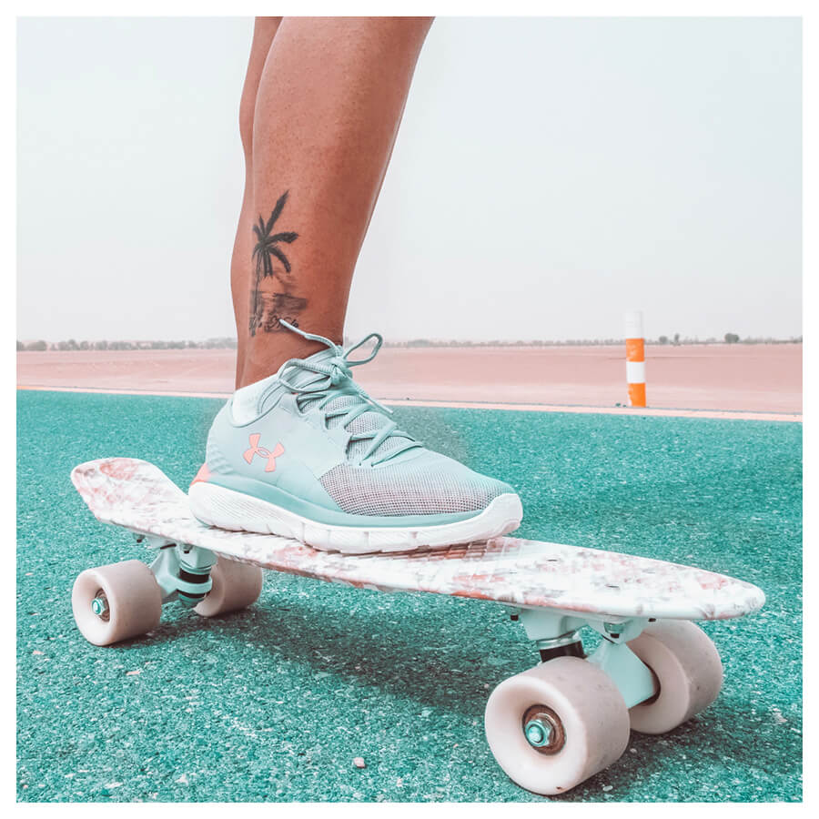 Beauty Blogger Lightroom Preset Filters girl on a skateboard with blue shoes after