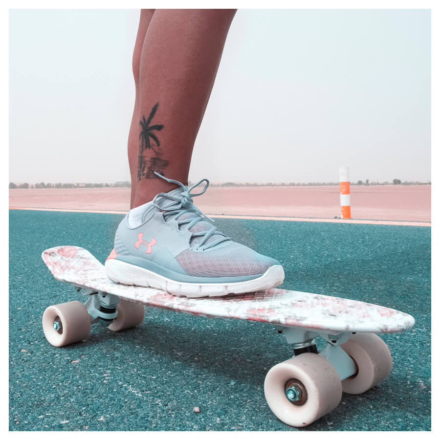Beauty Blogger Lightroom Preset Filters girl on a skateboard with blue shoes before