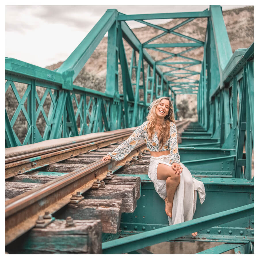 Insta Favorites Lightroom Preset Filters woman on a bridge and fashion for Instagrammers after