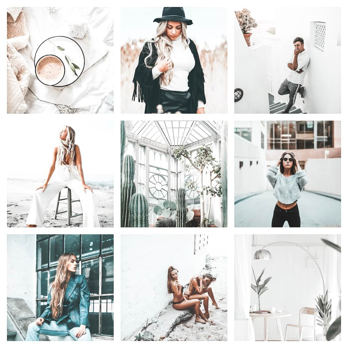 Minimal Whites moodboard preset filters Pixgrade for mobile and desktop