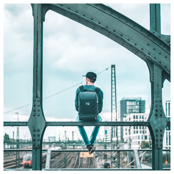 Digital Nomad Lightroom Preset Filters men on a bridge with a back for men bloggers after