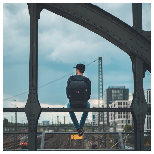 Digital Nomad Lightroom Preset Filters men on a bridge with a back for men bloggers before