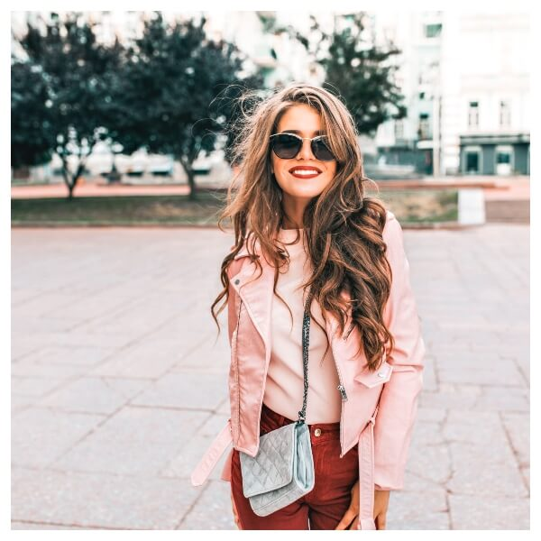 Rose Gold Lightroom Preset Filters woman in pink and street for photographers bed after