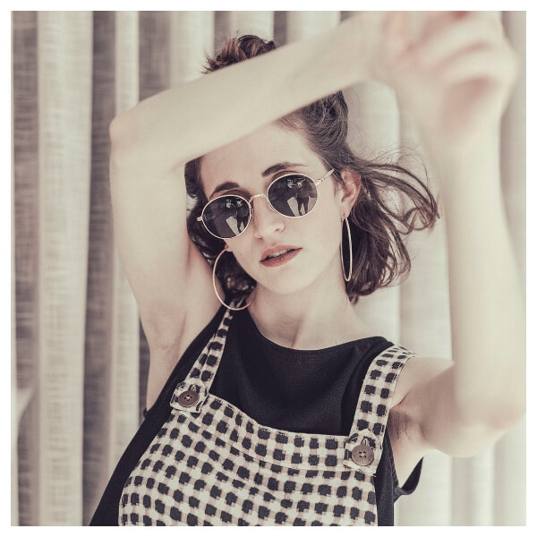 Vintage style Lightroom Preset Filters girl with sunglasses on after