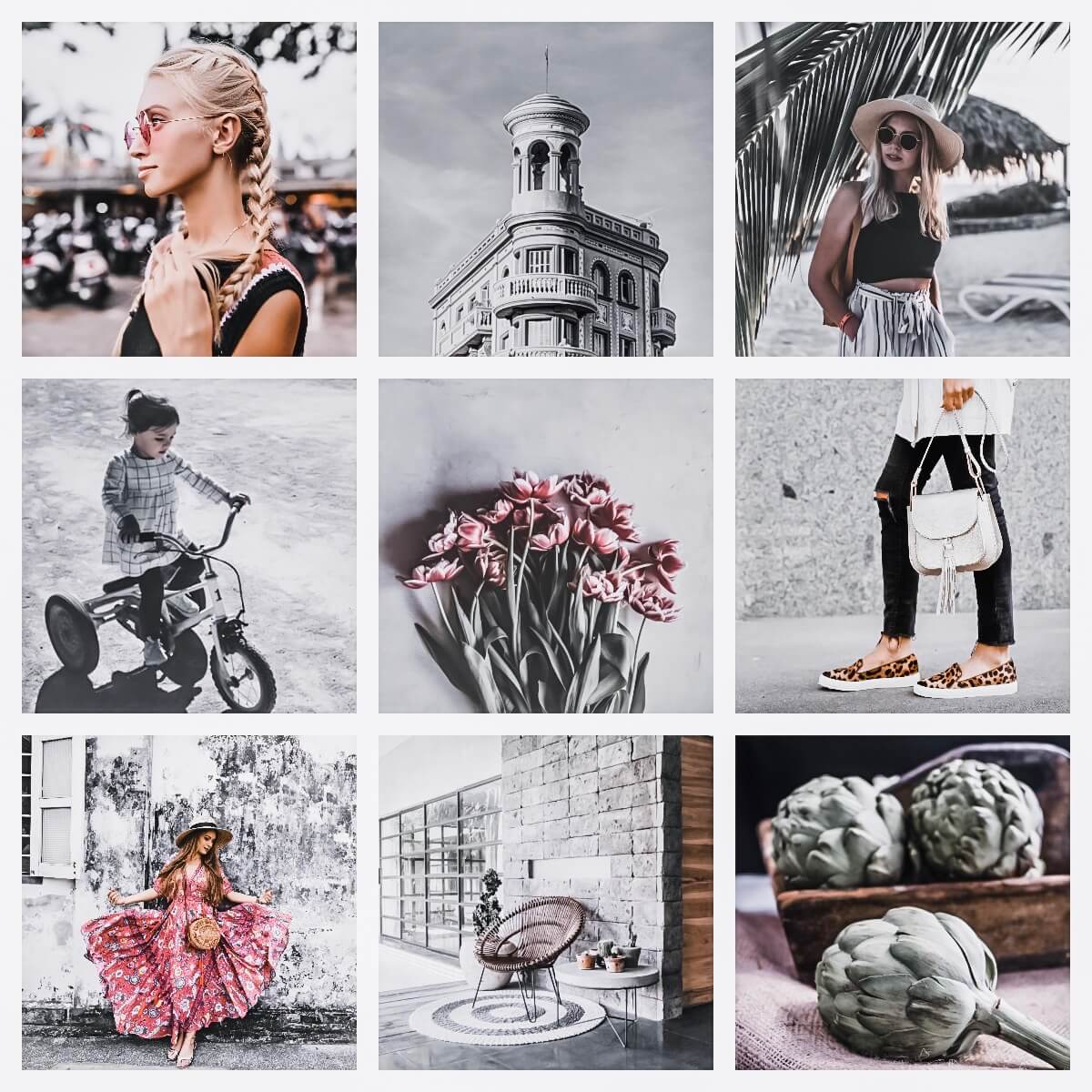 Silver Glow moodboard preset filters Pixgrade for mobile and desktop