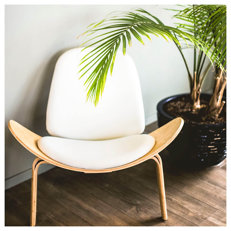 Bright Interior Lightroom Preset Filters chair and plant for bloggers after
