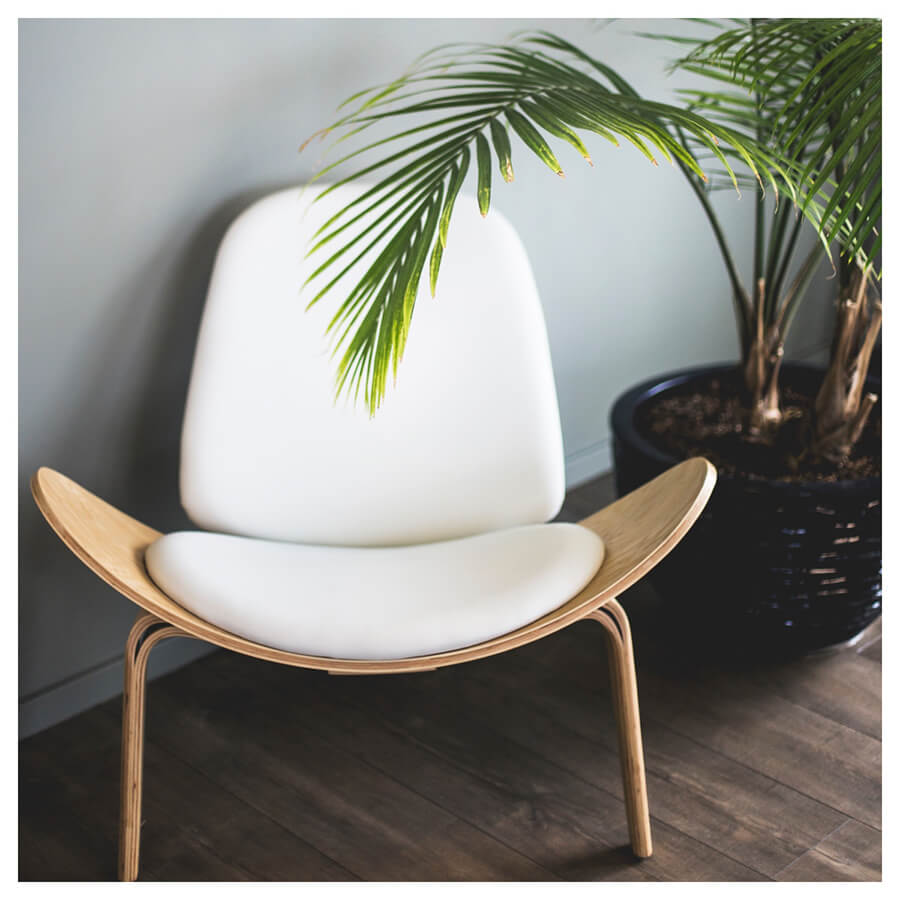 Bright Interior Lightroom Preset Filters chair and plant for bloggers before