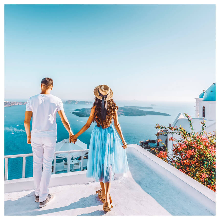 Santorini Lightroom Preset Filters Island and woman and men after