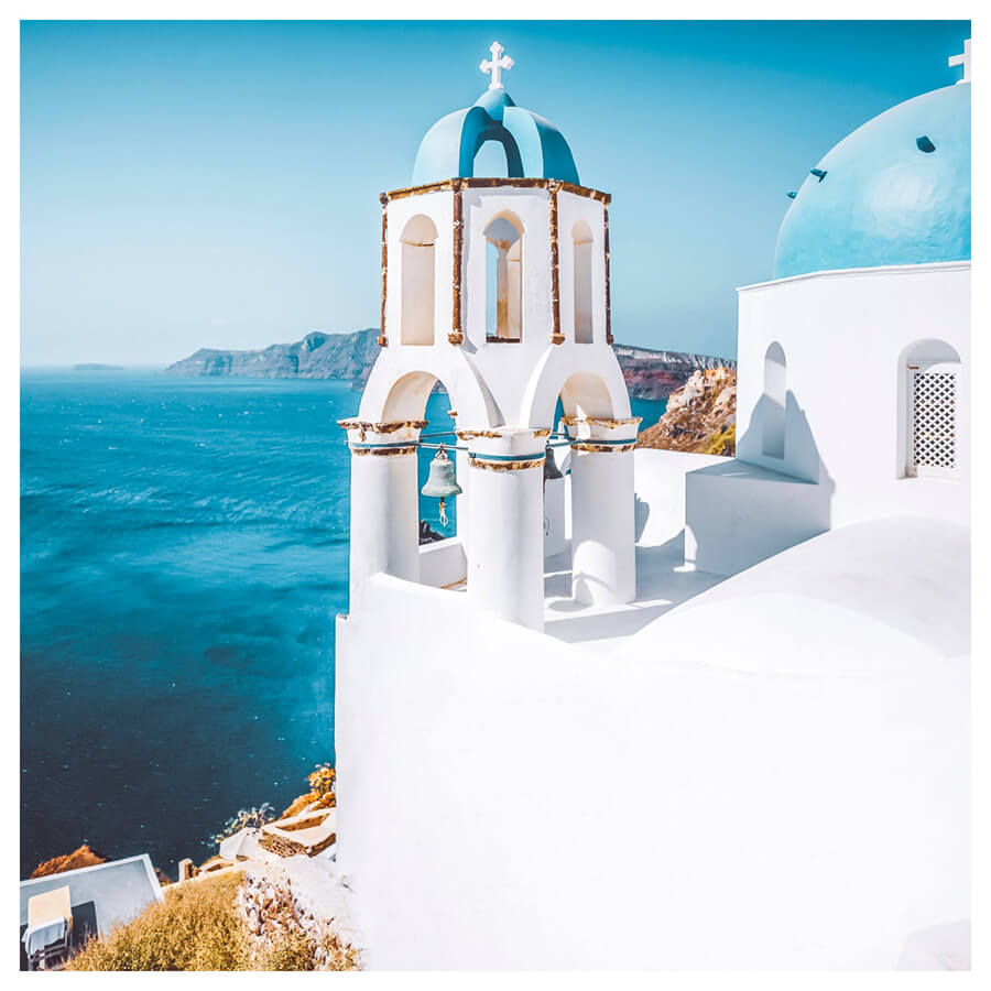 Santorini Lightroom Preset Filters Island and church for travel photography after