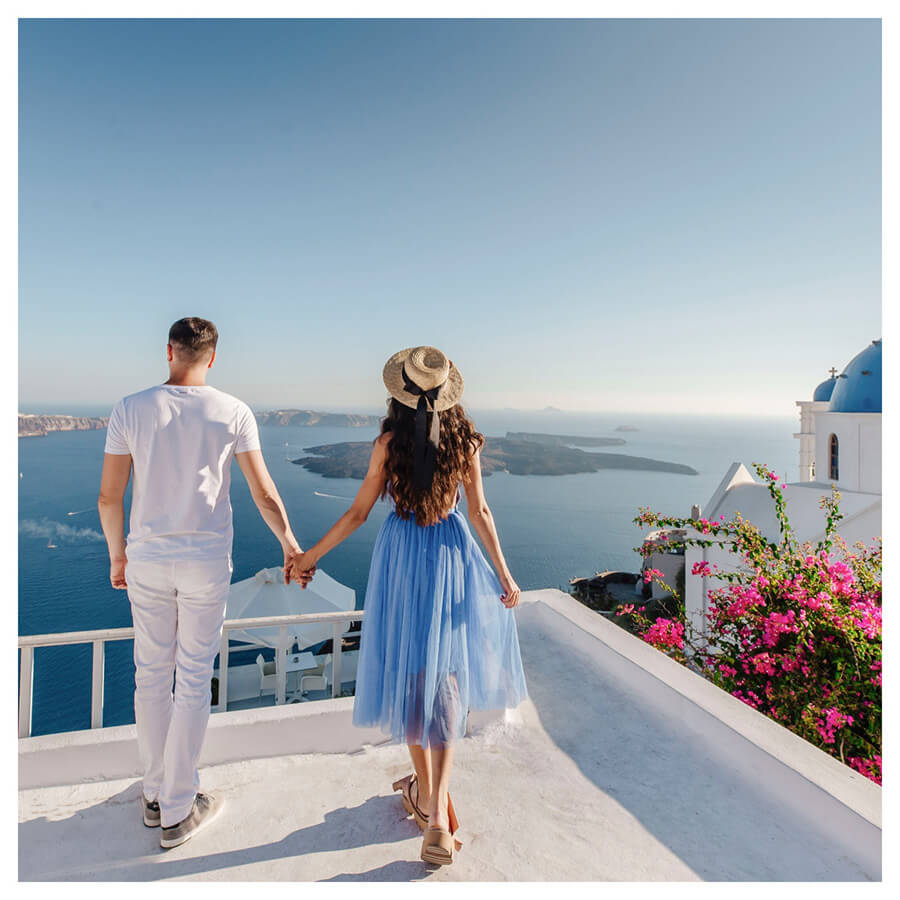 Santorini Lightroom Preset Filters Island and woman and men before