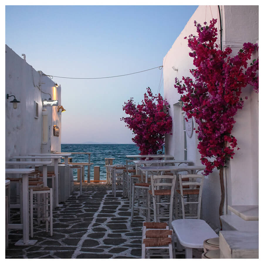 Santorini Lightroom Preset Filters restaurant and flower street for photography before