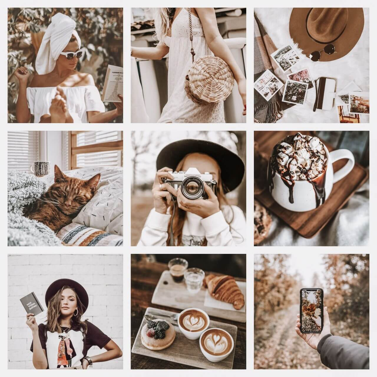 Cappuccino moodboard preset filters Pixgrade for mobile and desktop