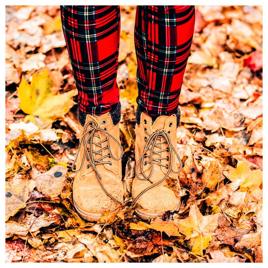 Lightroom preset filters from Pixgrade shoes and leaves for the fall after