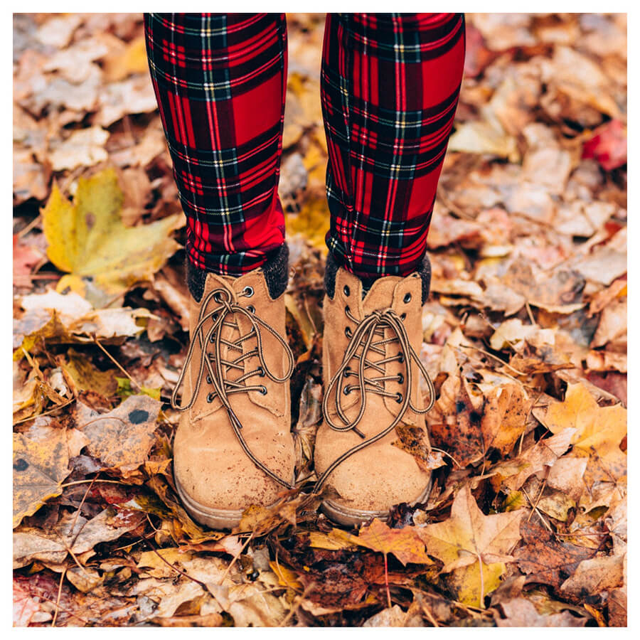 Lightroom preset filters from Pixgrade shoes and leaves for the fall before
