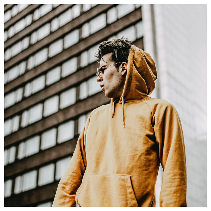 Moody For Men Lightroom Preset boy with a yellow hoodie on after