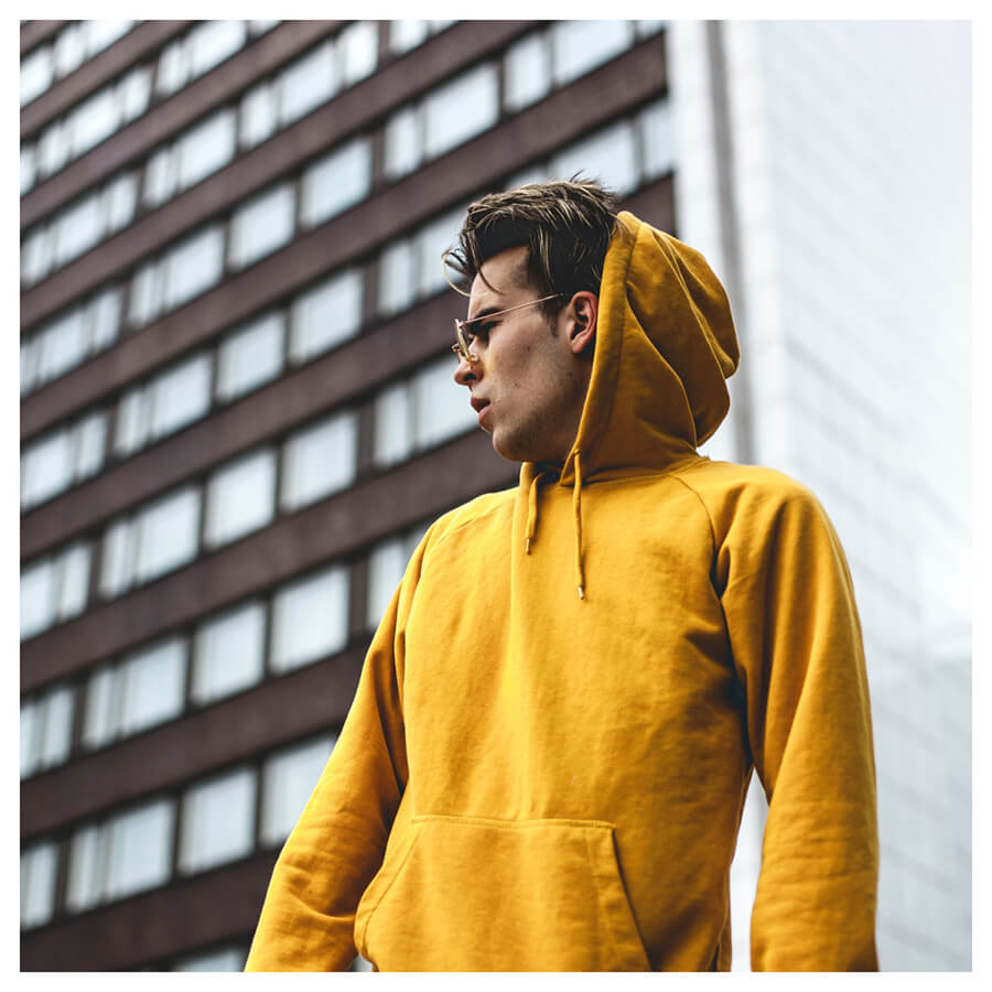 Moody For Men Lightroom Preset boy with a yellow hoodie on before