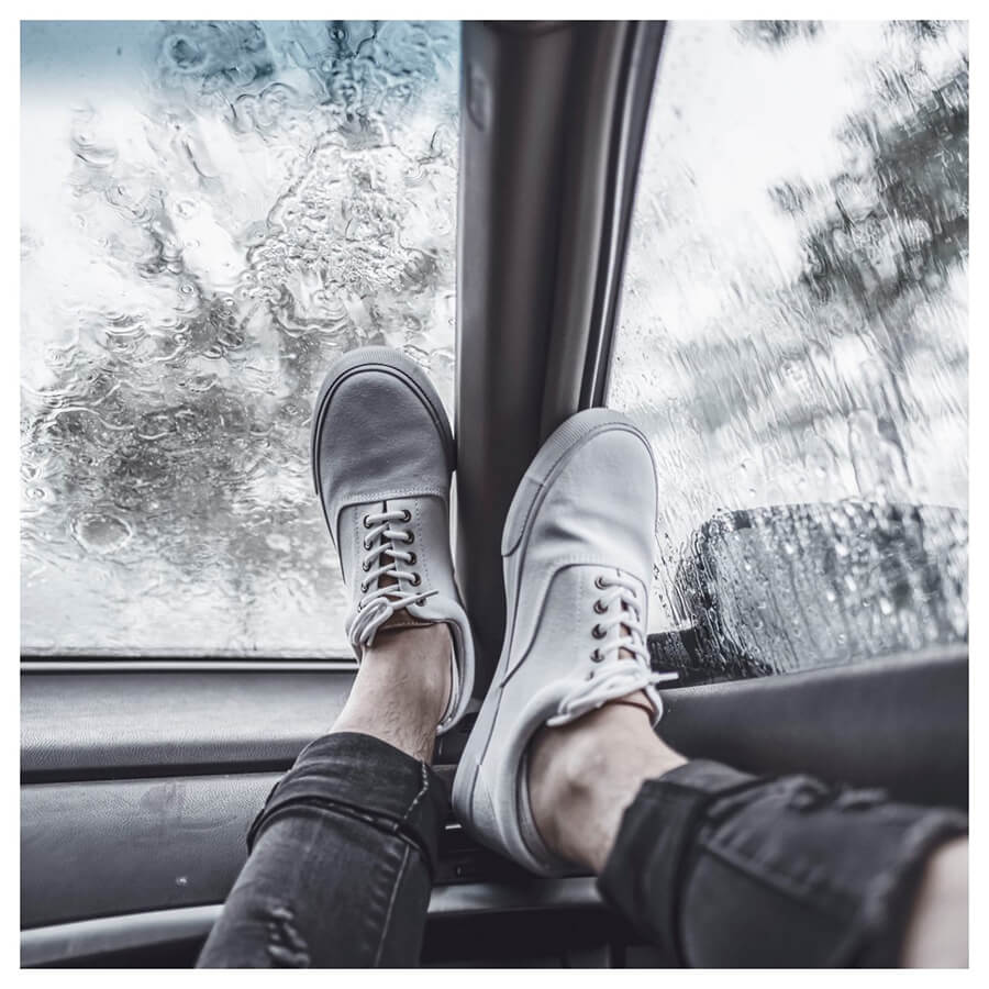Winter For Men Lightroom Preset filters white shoes in a car after