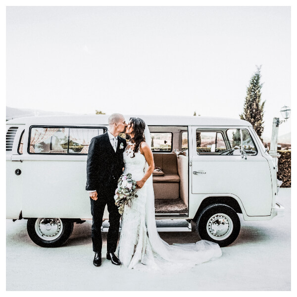 White Wedding Lightroom Preset filters bride and bridegroom with a van after