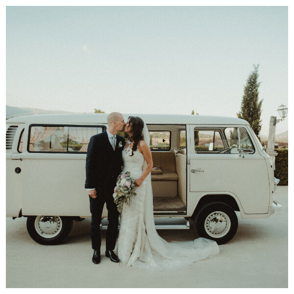 White Wedding Lightroom Preset filters bride and bridegroom with a van before